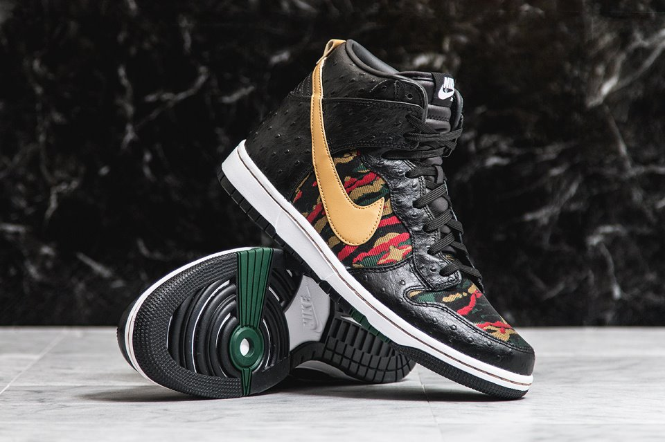 Nike's Dunk High silhoutte once again sees exotic fabrics and new colorways  for this custom design, with an old-school multi-colored colorway sporting  a ...